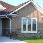 brown and black limestone ledgerock blend house front
