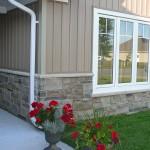 brown and black limestone ledgerock blend house front walk