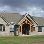 brown limestone ledgerock house finished