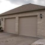 brown limestone ledgerock house weathered garage
