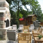 century brick outdoor patio fireplace