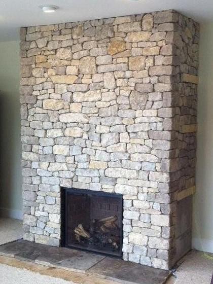 Cozy Cottage Tumbled Ledgerock Blend on a Fireplace