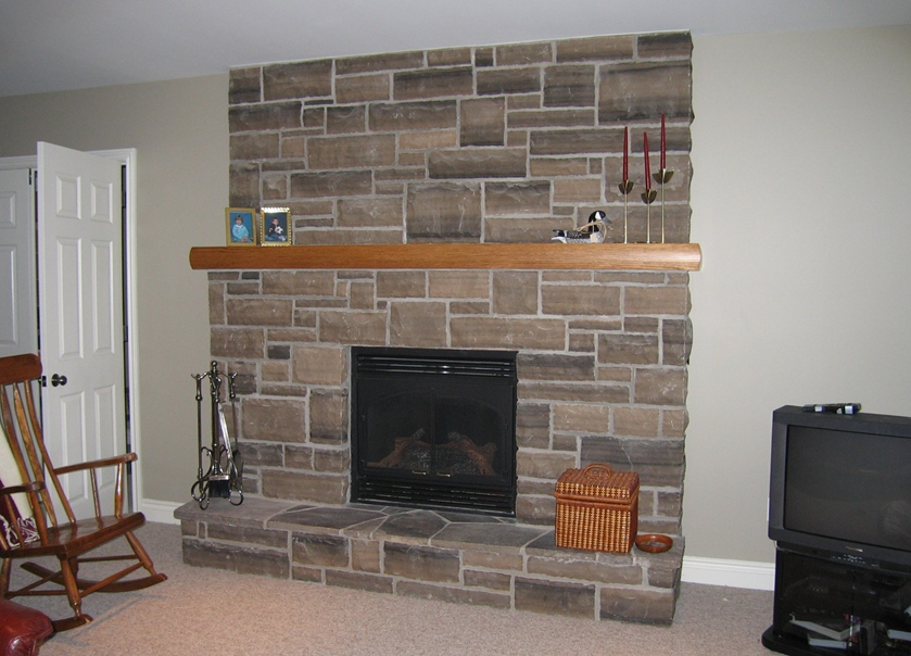 fireplace brown limestone ledgerock