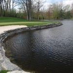 golf course elite blue granite waterfall and wall