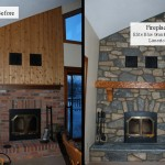 harvest gold limestone elite blue granite before and after fireplace