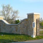 harvest gold limestone front entrance gate