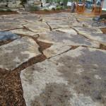 harvest gold limestone oversized flagstone patio