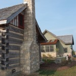 harvest gold limestone tumbled blend chimney side view