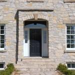 harvest gold limestone tumbled squared & ledgerock entrance