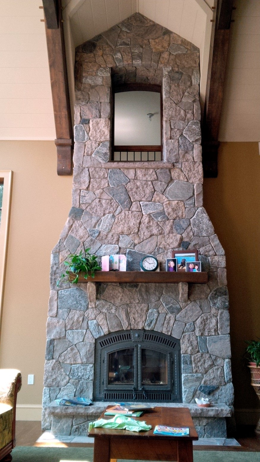 harvest gold with granite tumbled fireplace wall