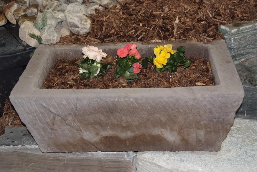 Limestone Medium Trough Planter