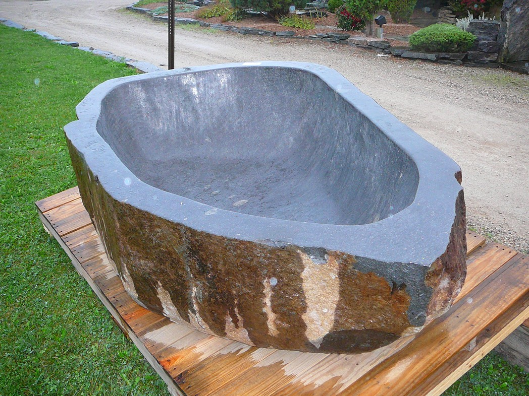 natural stone tub top view