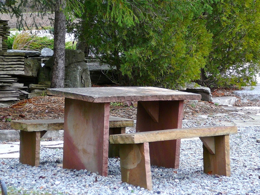 sandstone squared table and benches