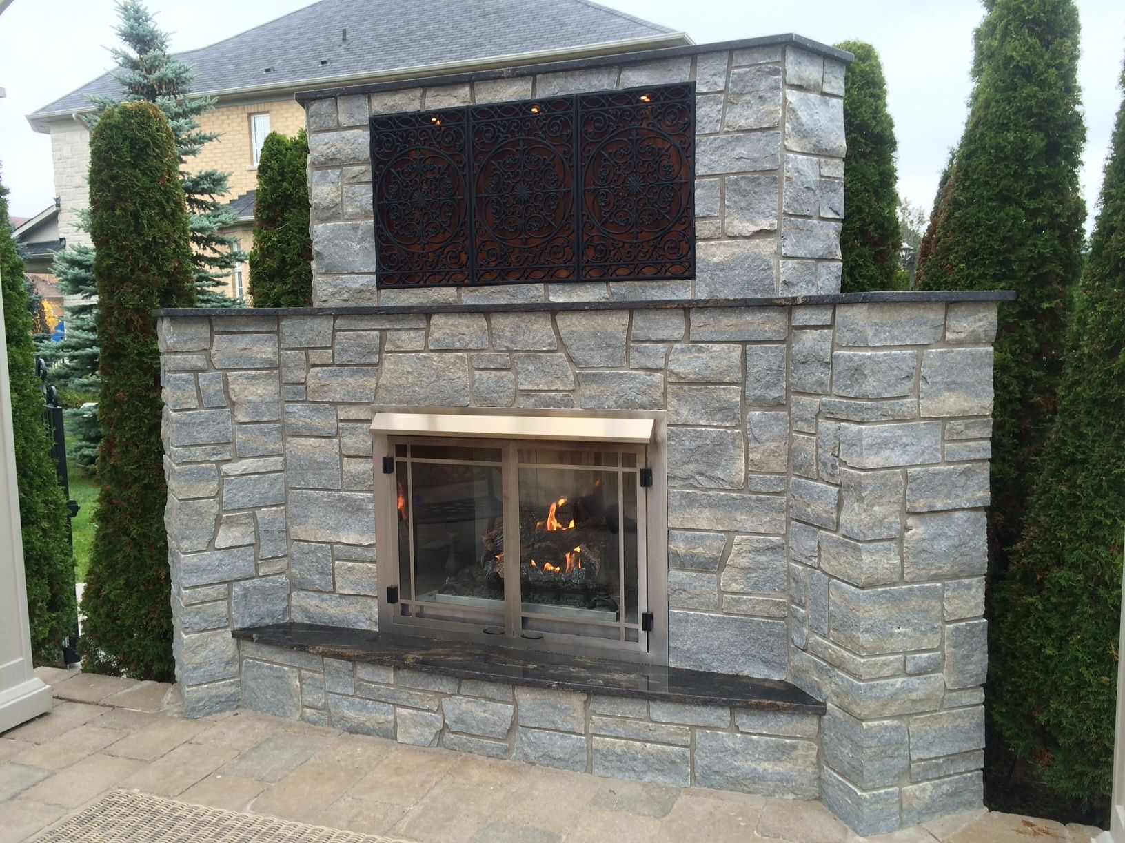 Weatheredge Limestone Silverwater Sawn Height Outdoor Fireplace