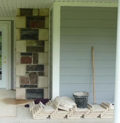 split fieldstone & elite blue granite sawn and chiseled