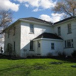 stucco house back before