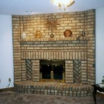 yellow brick fireplace